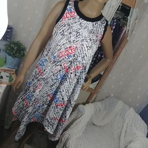 Dkny sample dress asymmetrical graffiti size smal